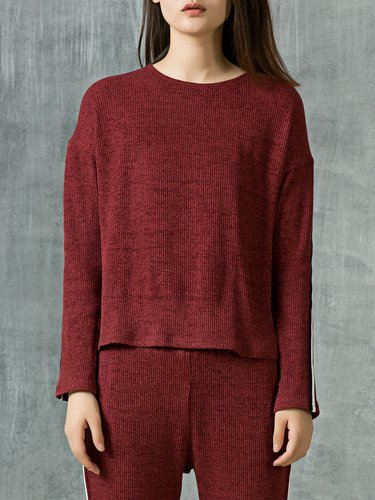 Burgundy Crew Neck H-line Long Sleeve Ribbed Long Sleeved Top