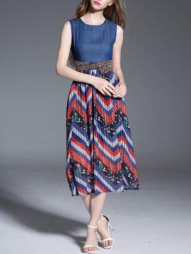 Savings Promo Sleeveless A Line Casual Midi Dress