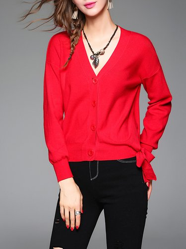 V Neck Knitted Buttoned Long Sleeve Cardigan