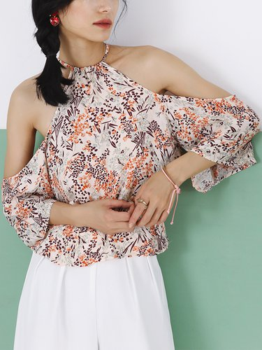 Casual Printed Cold Shoulder Cropped Top