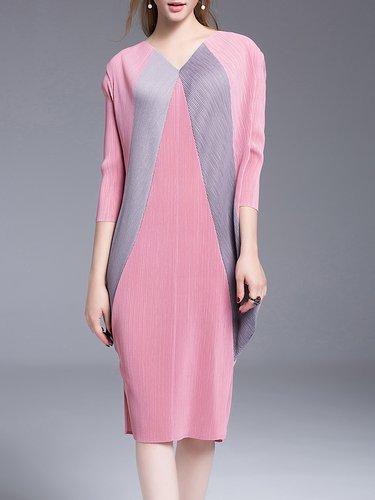 Pink Plain Casual Shift Ribbed Midi Dress