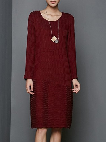 Burgundy Shift Plain Long Sleeve Ribbed Midi Dress