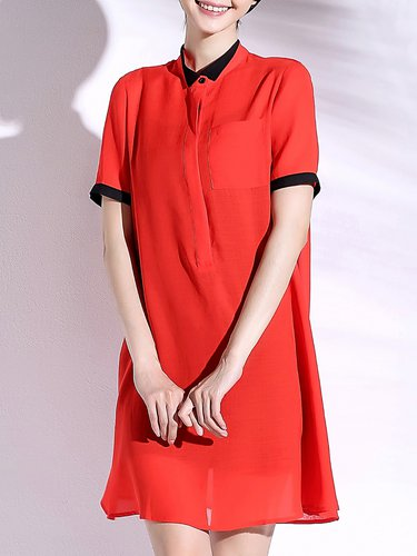 Red Chiffon Plain H-line Simple Midi Dress