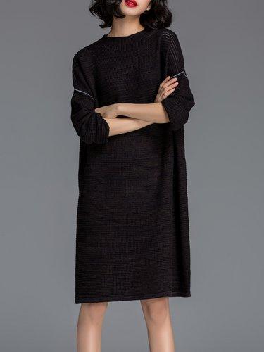 Black Knitted Plain Long Sleeve Cashmere Midi Dress