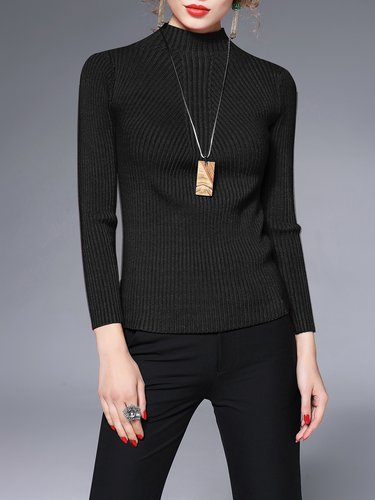 Stand Collar Casual Long Sleeve Ribbed Sweater
