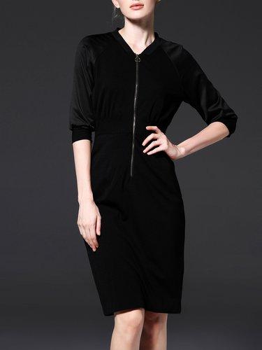 Half Sleeve Plain V Neck Elegant Midi Dress