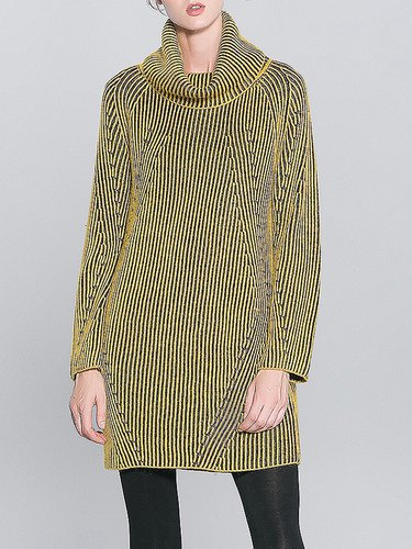 Yellow Turtleneck Long Sleeve Ribbed Sweater