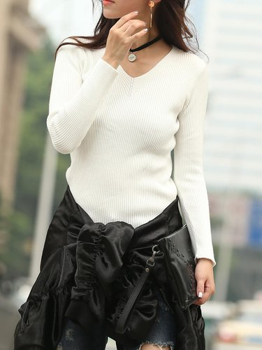 White Knitted Ribbed Long Sleeve V Neck Sweater