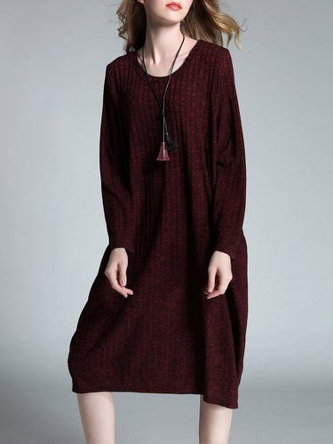 Long Sleeve Cocoon Solid Ribbed Midi Dress