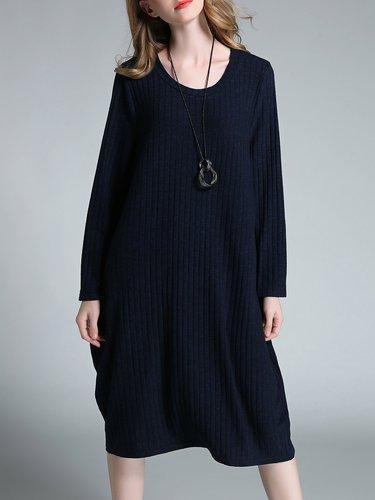Dark Blue Long Sleeve Crew Neck Ribbed Cocoon Midi Dress