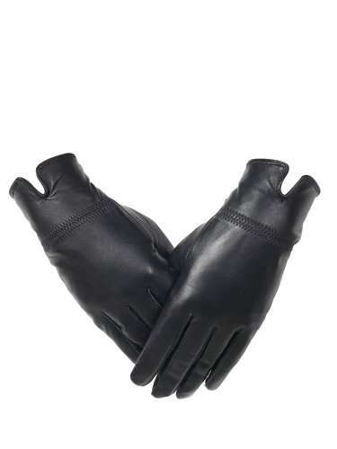 Black Solid Leather Full Finger Casual Gloves
