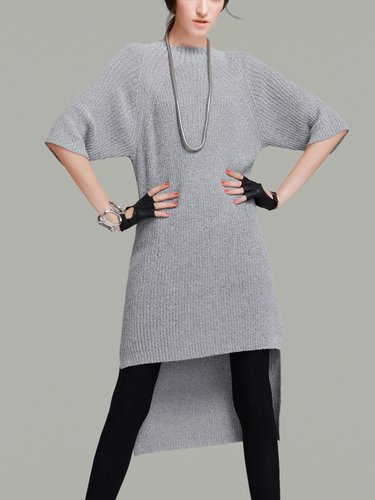 Gray Casual Knitted Ribbed High-low Sweater Dress