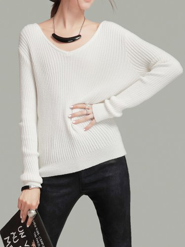 White Casual V Neck Ribbed Sweater