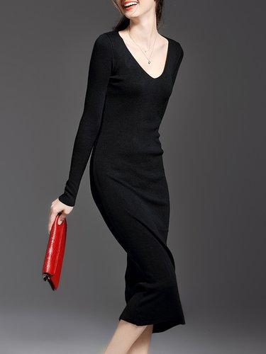 Sheath Simple V Neck Long Sleeve Plain Midi Dress