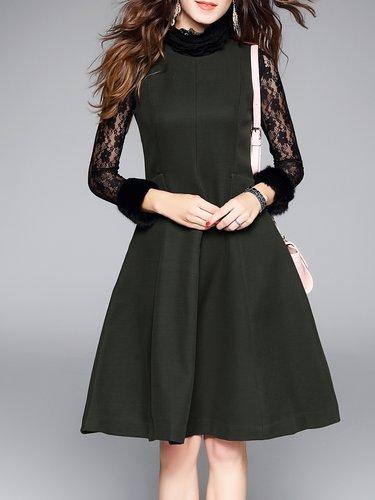 Plain Simple A-line Sleeveless Folds Midi Dress