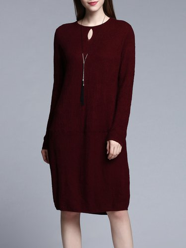 Wine Red Keyhole Knitted Casual Plain Sweater Dress