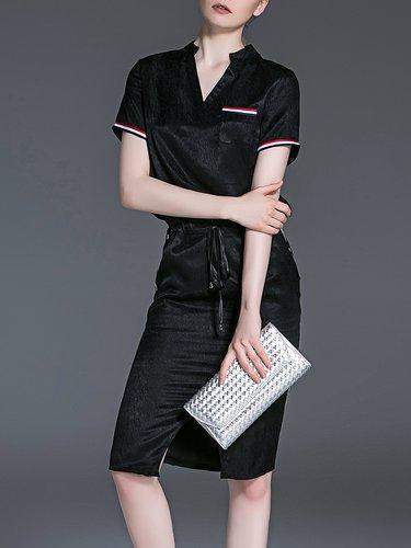 Black V Neck Plain Ribbed Casual Slit Midi Dress