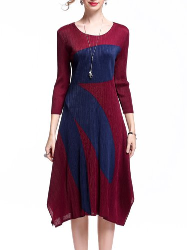 Ribbed 3/4 Sleeve Polyester Midi Dress