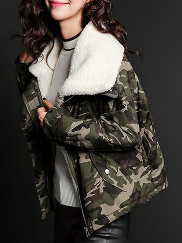 Army Green Long Sleeve Cotton H-line Printed Coat