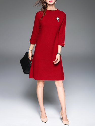Red 3/4 Sleeve Crew Neck Wool Blend A-line Midi Dress with Brooch