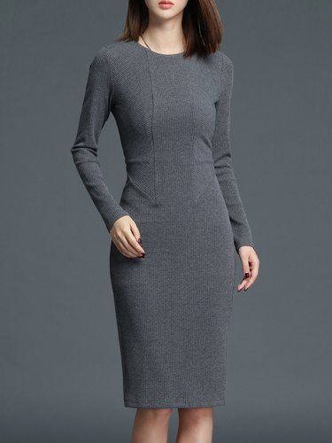 Simple Long Sleeve Bodycon Midi Dress