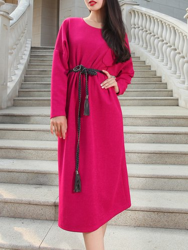 Cotton-blend Simple Long Sleeve Shift Midi Dress