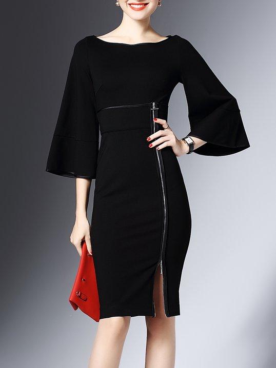 fa8e362a5e5f4 Stylewe Plus Size Bateau boat neck Black Midi Dress Daytime Dress Frill  Sleeve Zipper Solid Dress