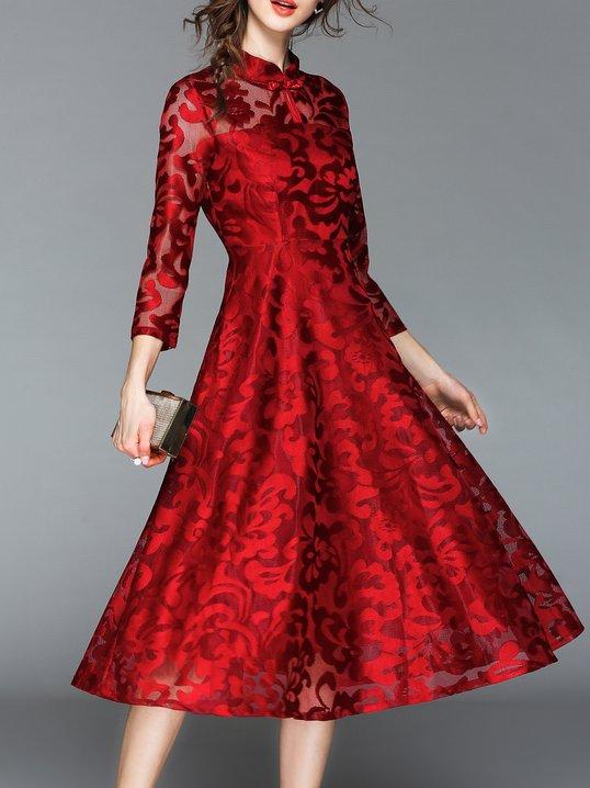Stand Collar Date Elegant 3/4 Sleeve Embossed Plain Evening Midi Dress