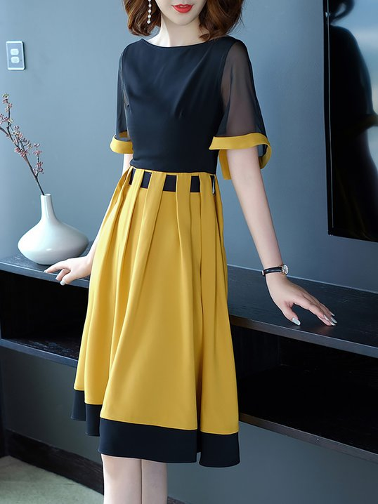 e8f40c1aa8a4 Stylewe Plus Size Midi Dress A-line Daily Dress Short Sleeve Statement  Paneled Dress