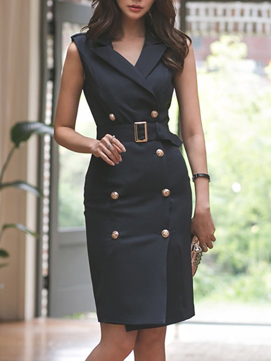e97131c63e1 FANTASYOU. Lapel Black Sheath Date Sleeveless Sexy Wrap Midi Dress