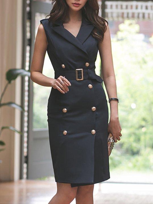 f6c3a8ab Shoptagr | Lapel Black Sheath Date Sleeveless Sexy Wrap Midi Dress ...