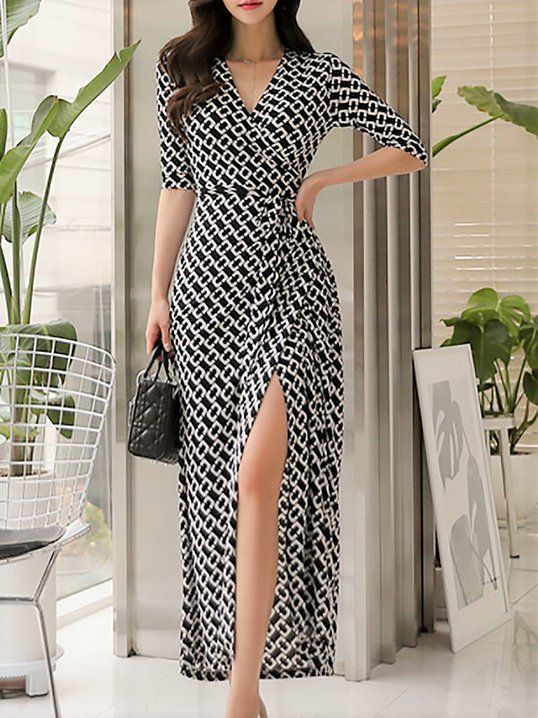 Stylewe Surplice Neck Black White Maxi Dress Sheath Date Dress Half