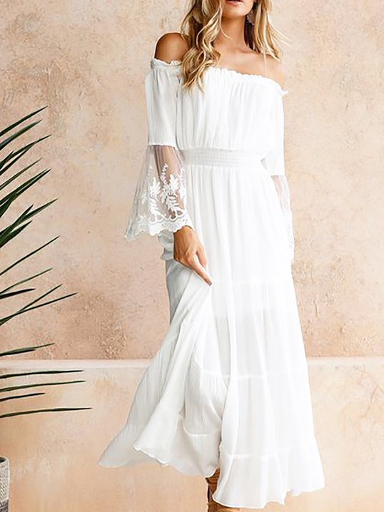 5b7f02537139 Off Shoulder White Midi Dress A-line Date Plain Dress - StyleWe.com