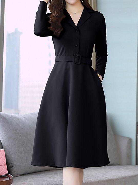 a86b23b1f4d Stylewe Prom Dresses Long Sleeve Casual Dresses Daytime A-Line Lapel Work  Dresses