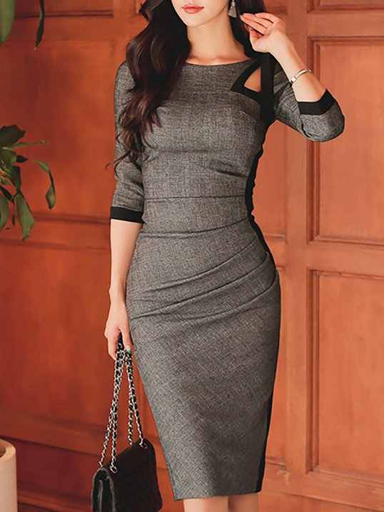 99f96e740c96 Stylewe Party Dresses Casual Dresses Daily Bodycon Crew Neck 3 4 Sleeve  Statement Paneled Dresses