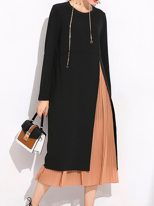 Black Casual Solid Slit Long Sleeve Shift Dress With Cami Stylewe