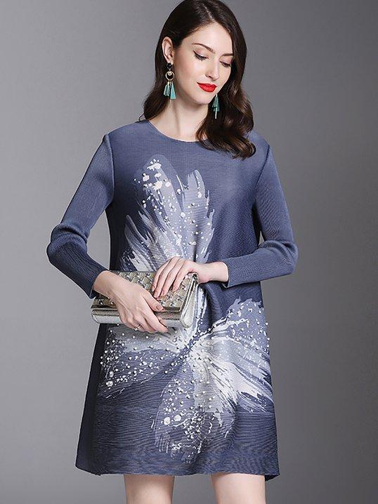 Animal Elegant Shift Pleated Printed Midi Dress - StyleWe.com 5011d9983