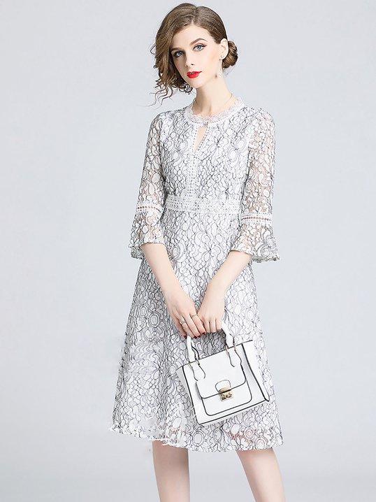 39c042ff1baf White Bell Sleeve Keyhole A-line Guipure lace Midi Dress - StyleWe.com