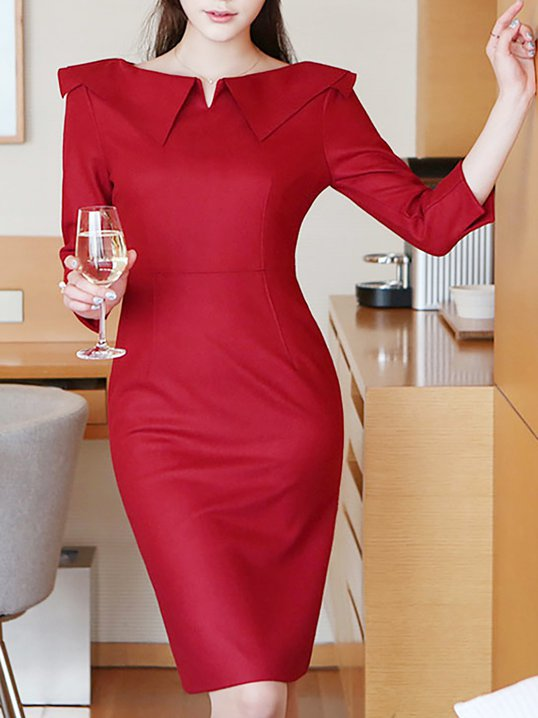5a14010328272 Elegant Bateau boat Neck Solid Half Sleeve Sheath Plus Size Midi Dresses -  StyleWe.com