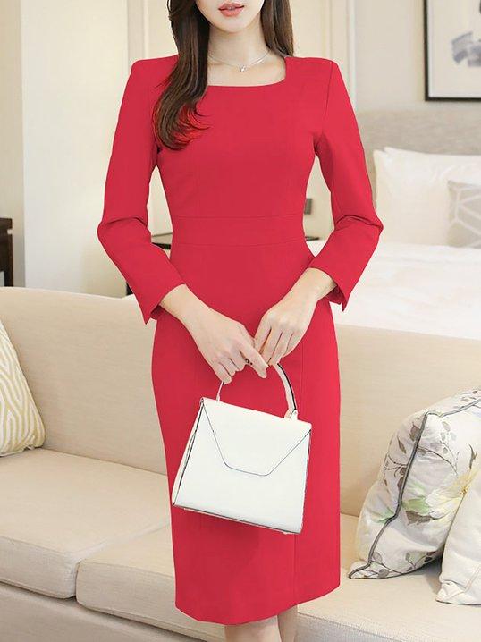 350acc1e72f35 Elegant Solid Sheath Square neck Plus Size Midi Dresses - StyleWe.com