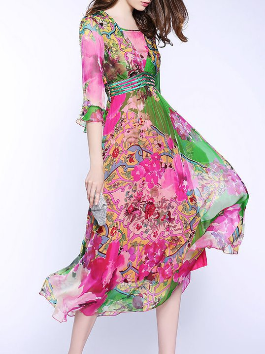 Stylewe Square neck Fuchsia Midi Dress Swing Daytime Dress Frill Sleeve Elegant  Silk Printed Dress 2473f2913
