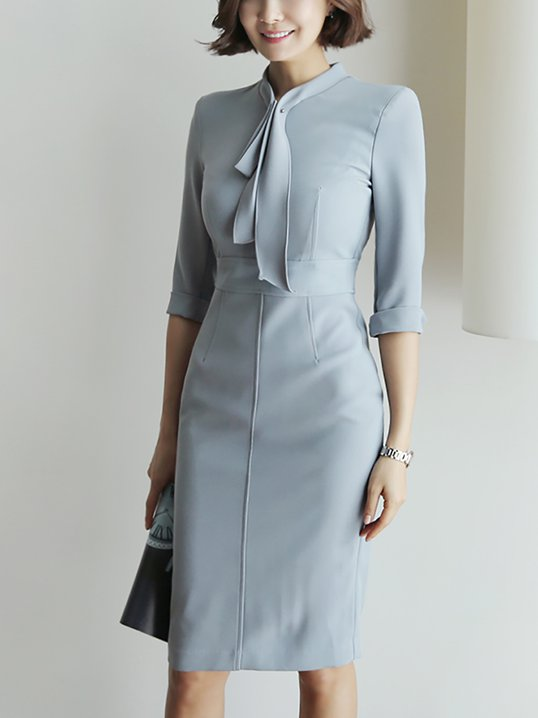 Grey 3/4 Sleeve Dress