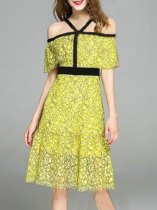88aa8ea0a1a5 Stylewe Yellow Off Shoulder Dress Cape Sleeve Sweet Bow Dress
