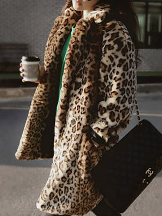 Faux Fur Casual Shift Leopard Print Shearling Coat