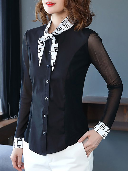 6d86b93f49cea6 Work Long Sleeve Printed Tie-neck Buttoned Blouse - StyleWe.com