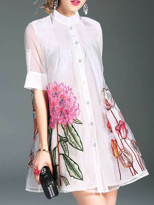 9b902ed96b9 Stylewe Stand Collar White Midi Dress Shift Daytime Dress Short Sleeve  Casual Embroidered Floral Dress