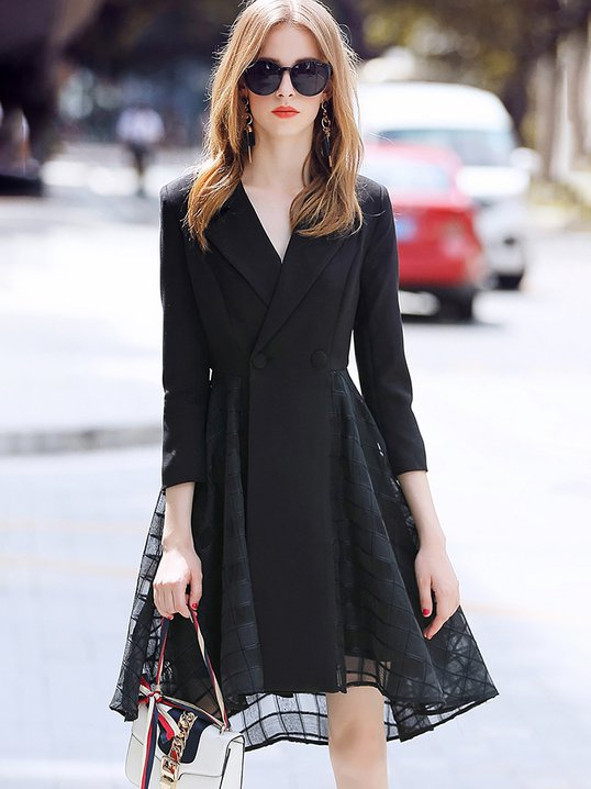 stylewe formal dresses long sleeve casual dresses daily a line lapel