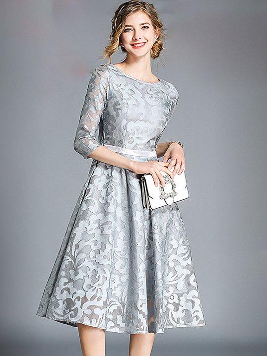 9820756c4a Stylewe Prom Dresses Formal Dresses Wedding A-Line Crew Neck 3 4 Sleeve  Guipure Lace Elegant Dresses