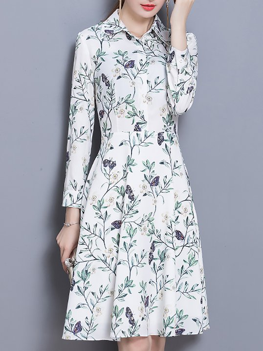 f1d531069ad Stylewe Casual Dresses Long Sleeve Floral Dresses Daytime A-Line Shirt  Collar Holiday Floral-Print Dresses