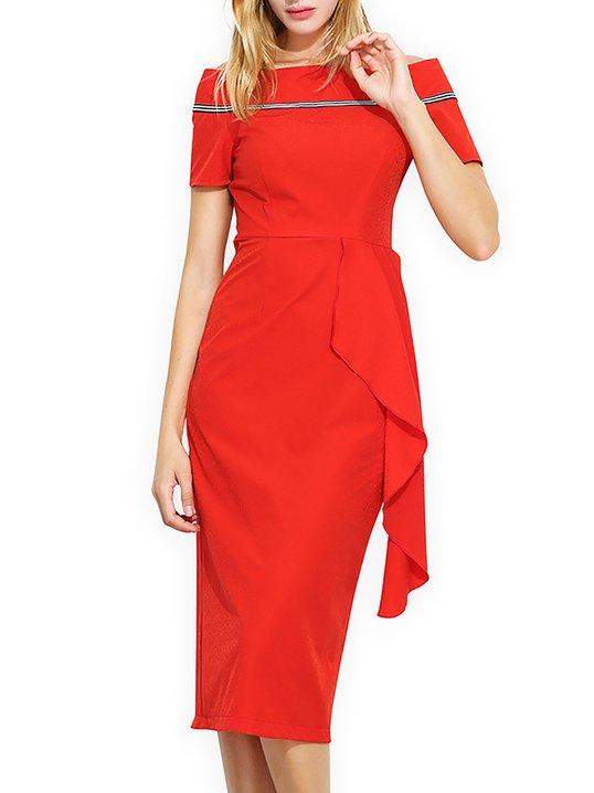 397a244586 Stylewe Prom Dresses Formal Dresses Cocktail Sheath Off Shoulder Elegant  Short Sleeve Paneled Dresses